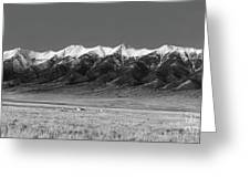 Sangre De Cristos  Dusk In Black And White Greeting Card