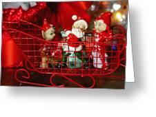 Santa And His Elves Greeting Card