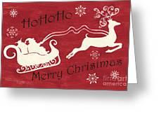Santa And Reindeer Sleigh Greeting Card