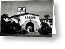Santa Barbara Courthouse Black And White-by Linda Woods Greeting Card