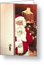 Santa Claus At Open Christmas Door Greeting Card