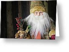 Santa Claus Doll In Green Suit With Forest Background. Greeting Card