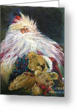 Santa Claus Riding Up Front With The Big Guy  Greeting Card