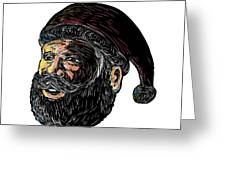 Santa Claus Three-quarter View Scratchboard Greeting Card