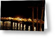 Santa Cruz Pier At Night Greeting Card
