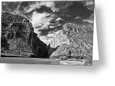 Santa Elena Canyon Black And White Greeting Card