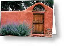 Santa Fe Gate No. 2 - Rustic Adobe Antique Door Home Country  Greeting Card
