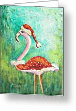 Santa Flamingo Greeting Card