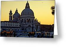 Santa Maria Della Salute On Grand Canal In Venice Against The Evening Sky Greeting Card