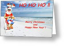 Santa Merry Christmas And Happy New Year Card Greeting Card