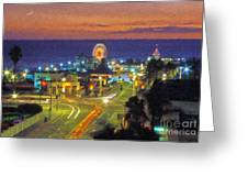 Santa Monica Ca  Pacific Park Pier Greeting Card