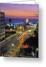 Santa Monica Ca Pacific Park Pier  Sunset Greeting Card