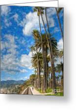 Santa Monica Ca Palisades Park Bluffs Palm Trees Greeting Card