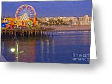 Santa Monica Pacific Park Pier And Lowes Hotel Greeting Card