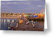 Santa Monica Pacific Park Pier Skyline Panoramic Greeting Card