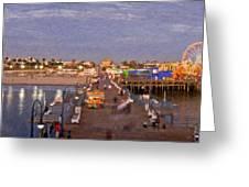 Santa Monica Pacific Park Pier Skyline Panoramic Greeting Card
