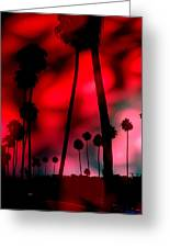 Santa Monica Palms Fiery Red Sunrise Silhouette Greeting Card