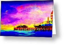 Santa Monica Pier A Night Greeting Card