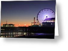 Santa Monica Pier At Sunset Greeting Card