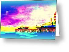 Santa Monica Pier In Blue Greeting Card