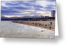 Santa Monica Sunset Panorama Greeting Card by Ricky Barnard