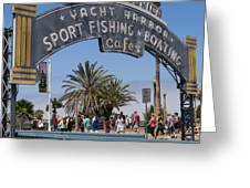 Santa Monica Yacht Harbor At Santa Monica Pier In Santa Monica California Dsc3669sq Greeting Card