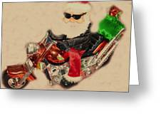 Santa On Motorcycle  Greeting Card