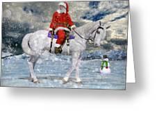 Santa Rides To Town Greeting Card