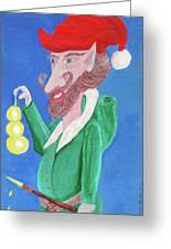 Santa's Ornament Painter Elf Greeting Card