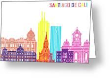 Santiago De Cali Skyline Pop Greeting Card