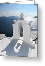 Santorini Bell Tower Casts Shadow Greeting Card