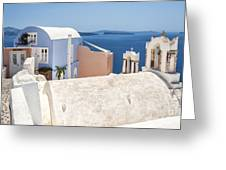 Santorini Blue House In Oia Greeting Card