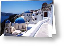 Santorini Churches Greeting Card