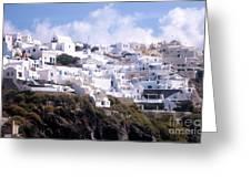 Santorini Hillside 2 Greeting Card