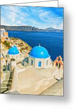 Santorini Oia Church Caldera View Digital Painting Greeting Card