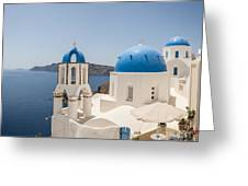 Santorini Oia Churches Stitched Panorama Greeting Card