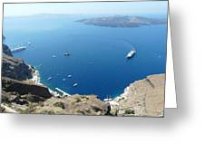 Santorini Old Port At Fira Greeting Card