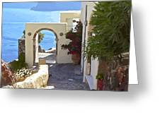Santorini Pathway Greeting Card