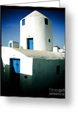 Santorini Silo With Border Greeting Card