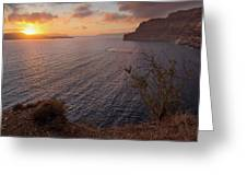 Santorini Sunset Caldera Greeting Card