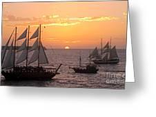 Santorini Sunset Sails Greeting Card