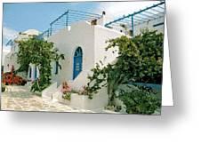 Santorini Villa Greeting Card