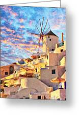 Santorini Windmill At Oia Digital Painting Greeting Card