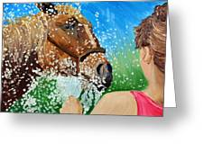 Sara Washes Her Horse Greeting Card