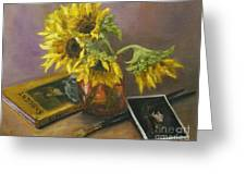 Sargent And Sunflowers Greeting Card