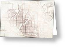 Saskatoon Street Map Colorful Copper Modern Minimalist Greeting Card
