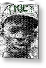 Satchel Paige Kc Monarchs African American Mosaic Greeting Card by Paul Van Scott
