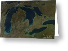 Satellite View Of The Great Lakes, Usa Greeting Card