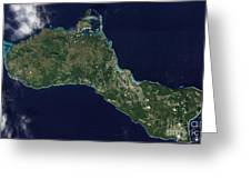 Satellite View Of The Island Of Guam Greeting Card