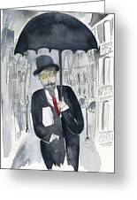 Satie Walking In The Rain Greeting Card